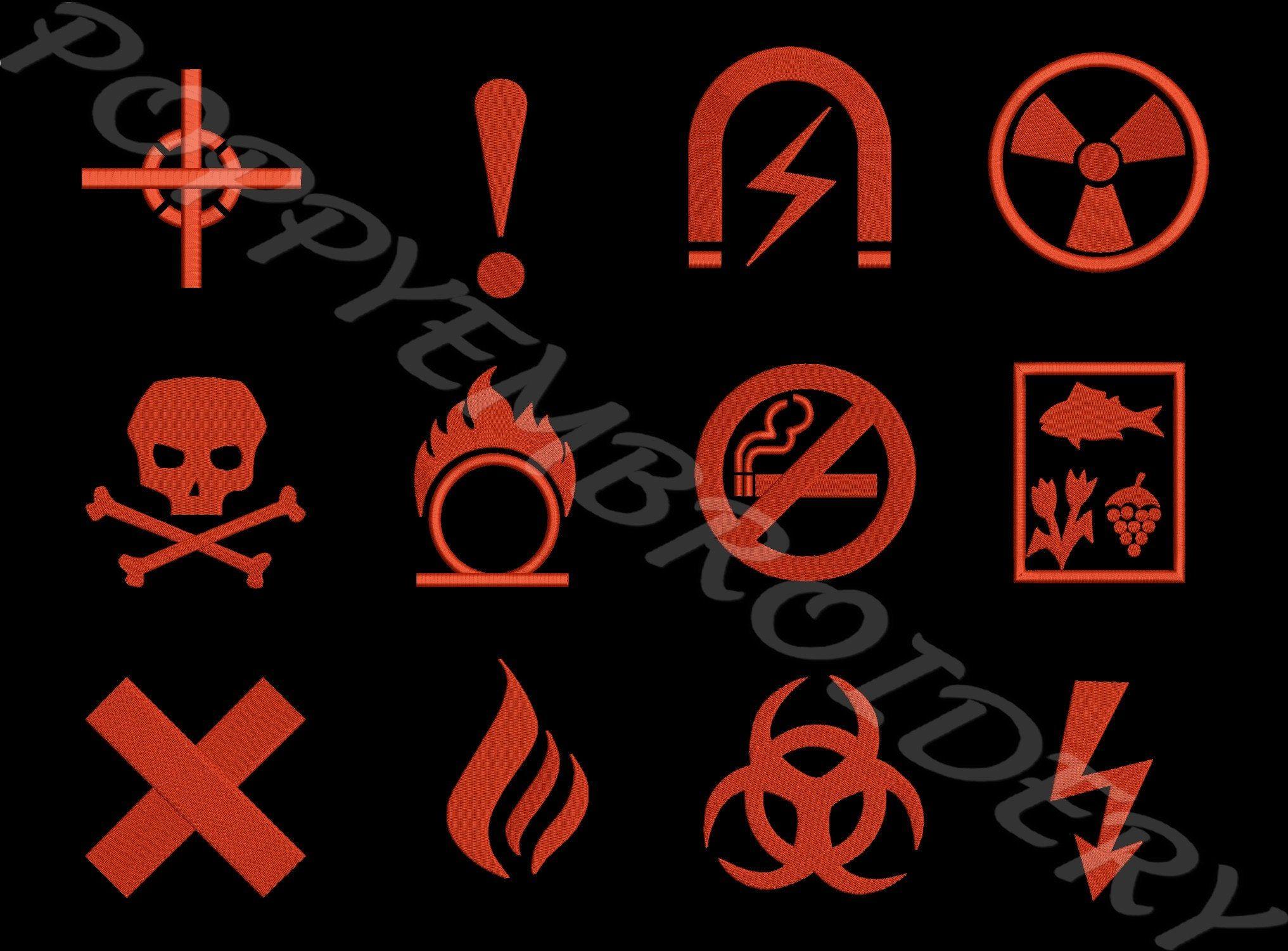 Hazard Symbol Design For Embroidery Machine Danger Motifs Pour