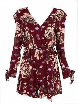 Shop Multicolor Wrap V-neck Floral Split Sleeve Romper Playsuit from choies.com .Free shipping Worldwide.$17.9