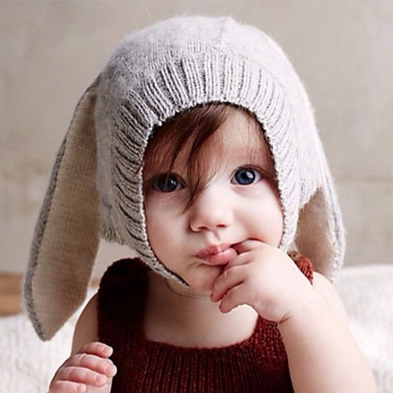 c9264b06773 Buy Baby Hats Rabbit Ears Knitted Kids Caps 2016 Autumn Winter Girls Lovely  Infant Toddlers Beanies Photo Props - Europe   USA Clothing from  Shanghai(Top ...