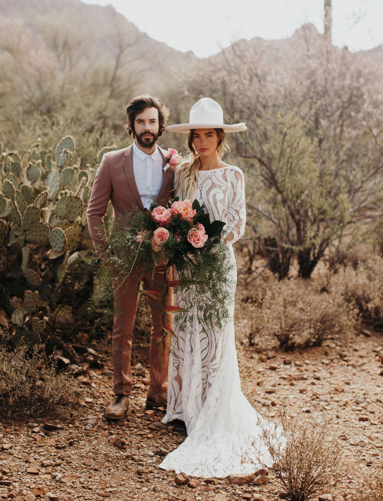 Bridal Trend With Hats Boho Hipster Bride Casey Quigley Stylish Groom In Tan Brown Suit