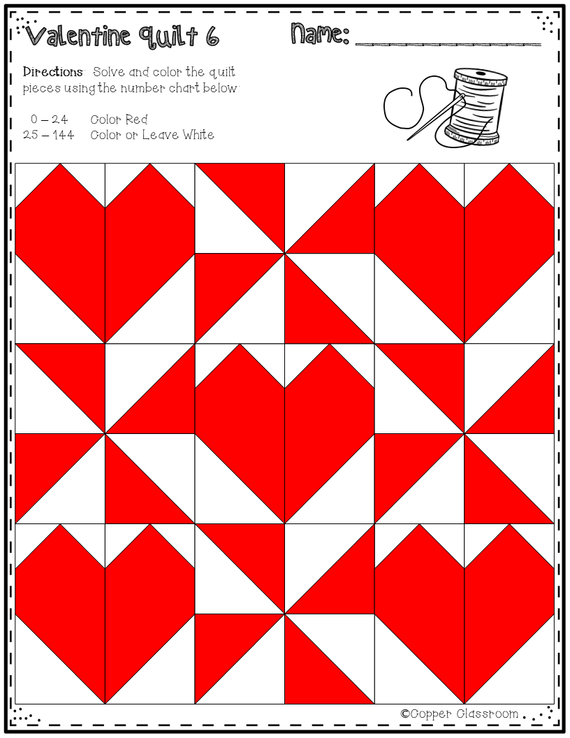 Valentine Math Quilts Color By Code For Multiplication Facts Up To 12 X 12 Quilts Math Valentines Barn Quilt Designs [ 1056 x 816 Pixel ]