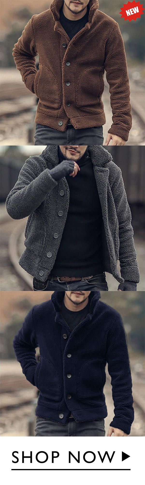 Mens Plush Coat Stylish Warm Fur Collar Side Pockets Short Jacket is part of Clothes Mens Outfits - Fall, Winter Occasion Daily Casual NOTICE Due to the light difference, the color may be slightly different  Please allow slight differences due to manual measurement