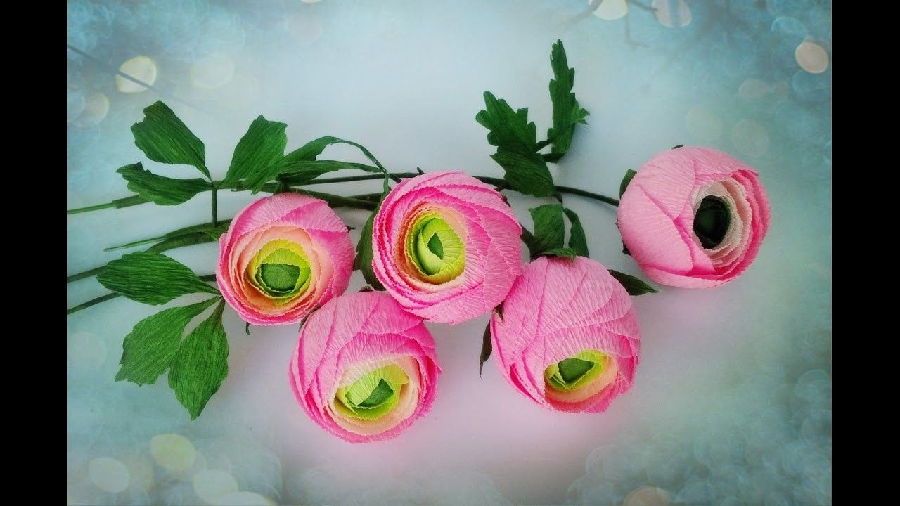 How To Make Ranunculus Flower From Crepe Paper Craft Tutorial