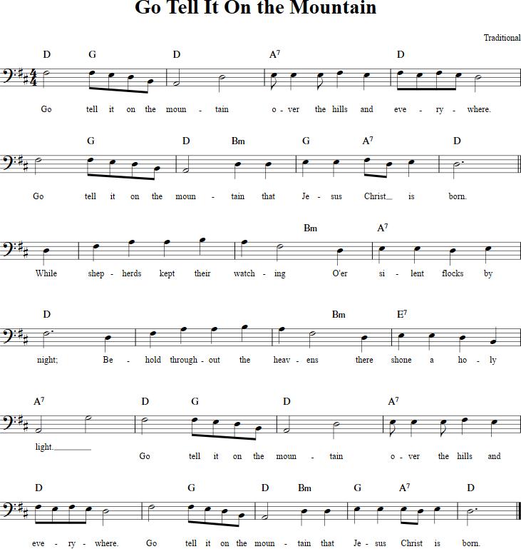 Lyric go tell it on the mountain hymn lyrics : Go Tell It on the Mountain Cello Sheet Music - http ...
