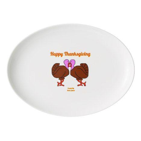 Happy Thanksgiving Turkeys Porcelain Coupe Platter in 2018