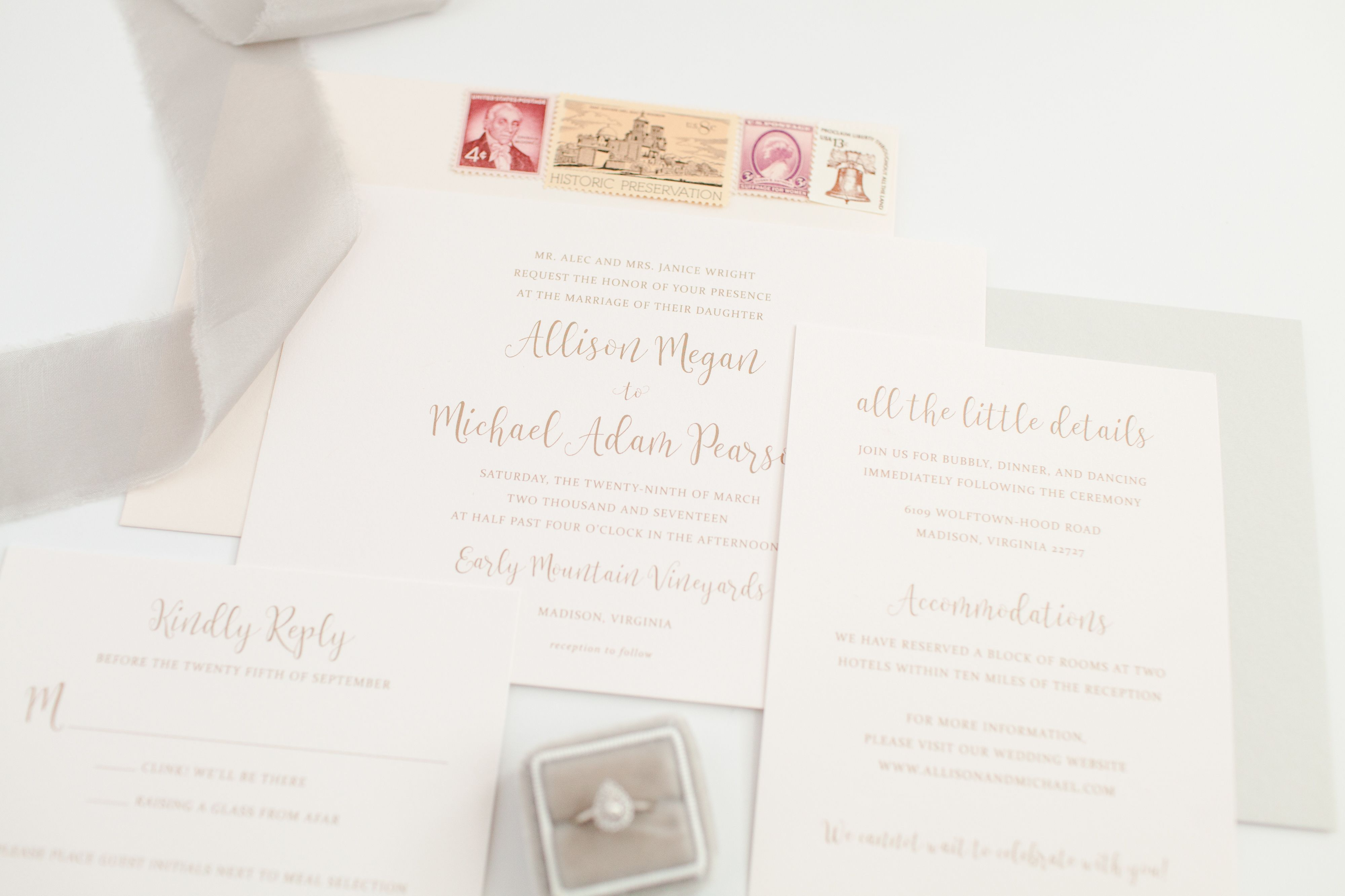 Blush and Taupe Wedding Invitations by Third Clover Paper. Can be ...