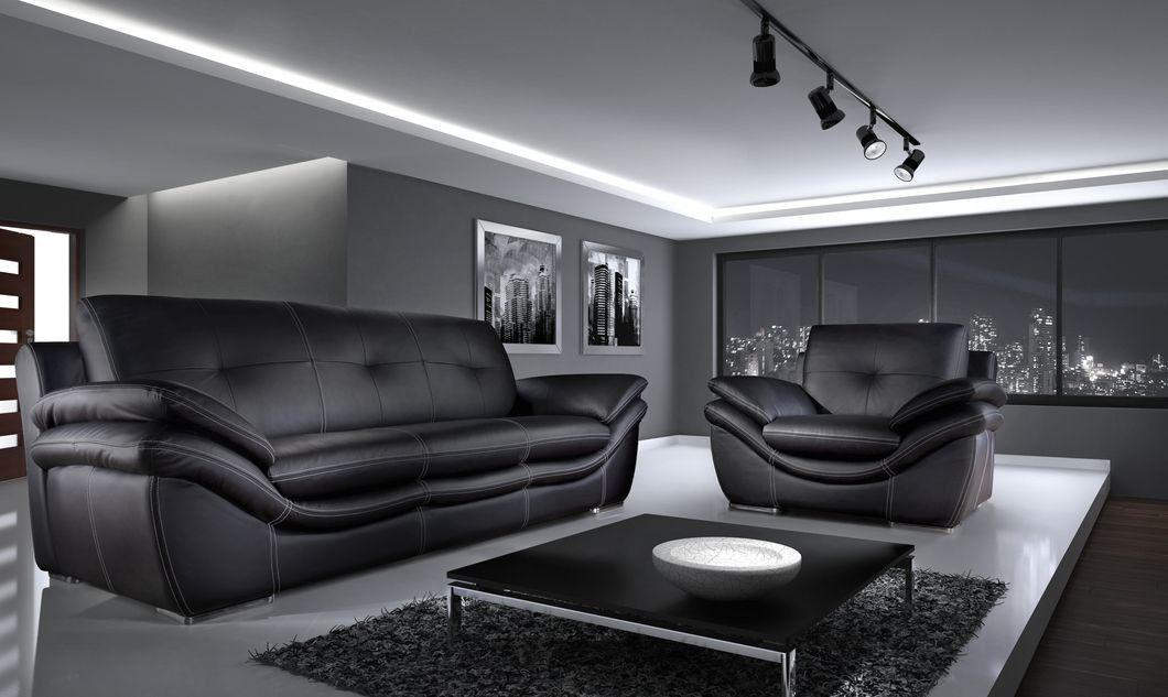 Dakar 2 Seater Leather Sofa Sofa Black Fabric Sofa Luxury Sofa