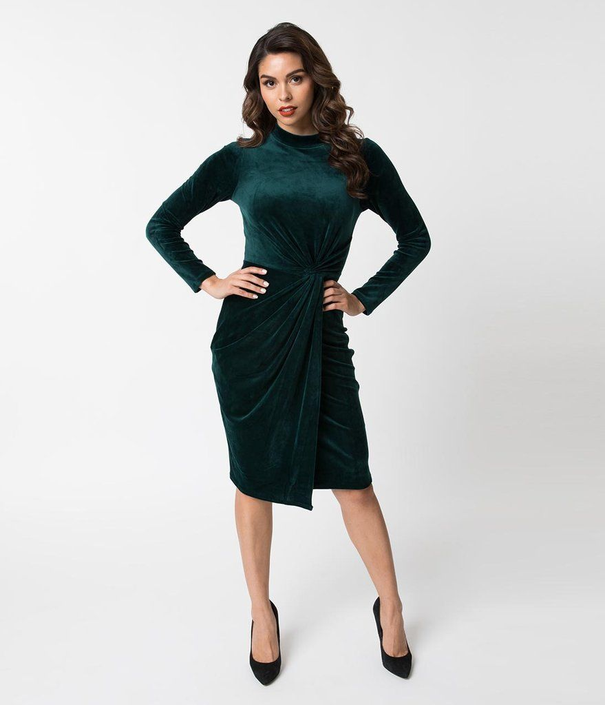 Evergreen Green Velvet Knotted Long Sleeve Wiggle Dress Wiggle Dress Green Velvet Dress Unique Dresses [ 1023 x 879 Pixel ]