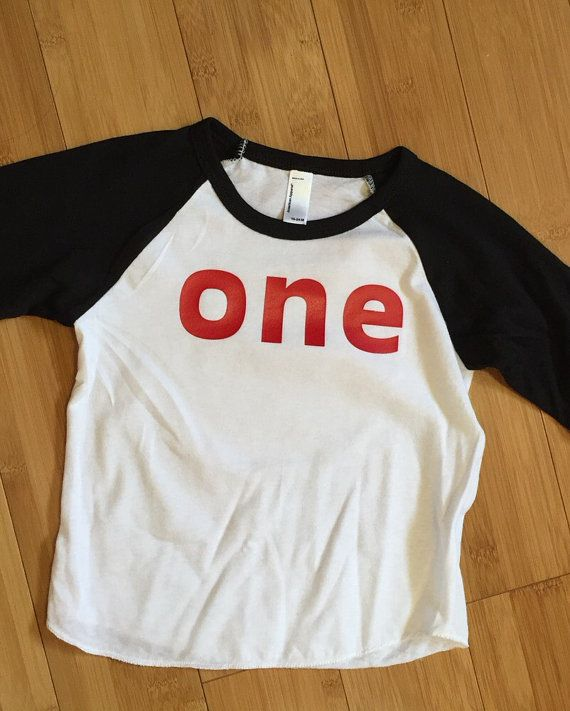 First Birthday Shirt // baseball raglan tee by JamieVanNuysDesigns