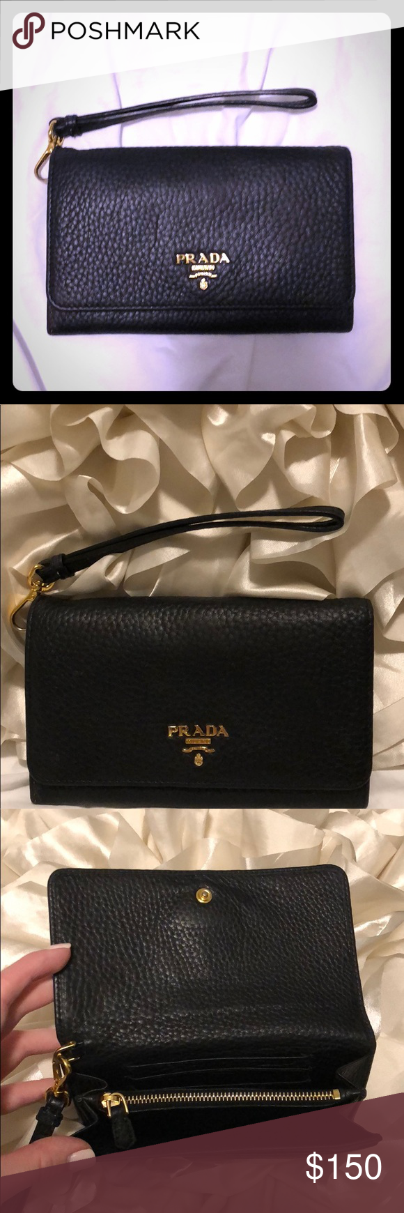 d453d26b5651 Authentic Prada Leather Wallet/Clutch Authentic Prada Wristlet/Wallet/Clutch  in Nero Black with Gold Accents Prada Bags Wallets