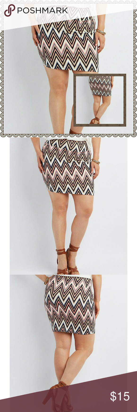 ?? LISTING  PLUS SIZE PRINTED MINI SKIRT STRETCH COTTON FORMS A COOL BODYCON MINI SKIRT DECORATED WITH TRENDY CHEVRON STRIPES ! WIDE WAISTBAND MAKES IT CUTE AND COMFY - PERFECT FOR PAIRING WITH TUCKED IN SHIRT OR CROP TOP. Skirts