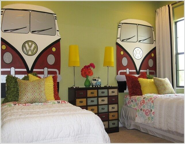 For a Retro Inspired Kids' Room Make VW Camper Headboards | חדר