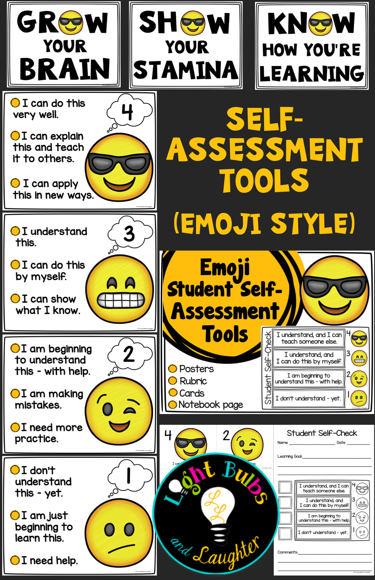 Modern Classroom Assessment Book ~ Student self assessment tools emoji style everything