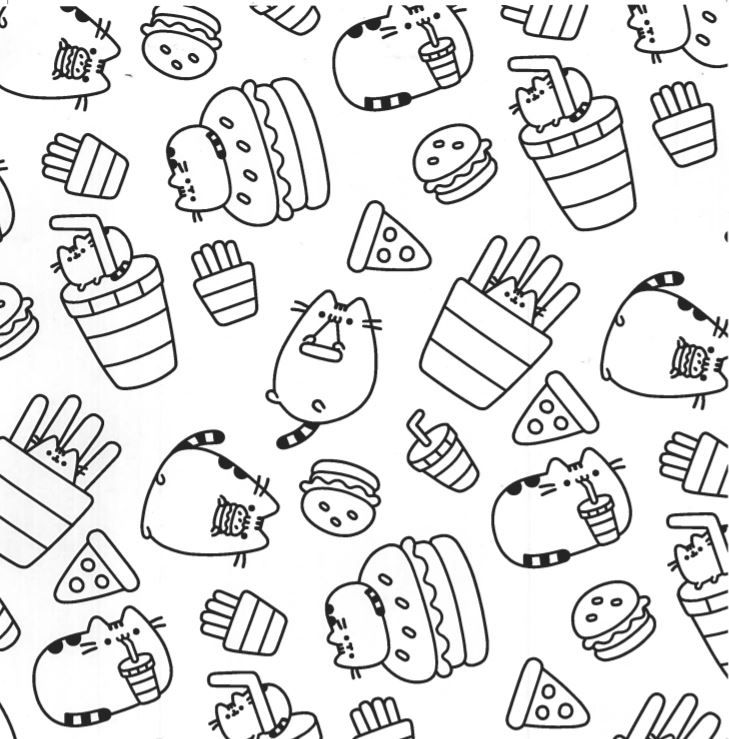 Pizza Burger Fries Pusheen Coloring Page Coloring Books, Detailed Coloring  Pages, Coloring Pages