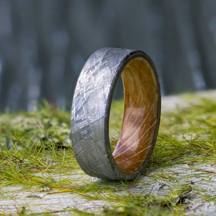 0be315051c0c0 Meteorite Men's Wedding Band With Whiskey Barrel Wood Sleeve-3622 ...