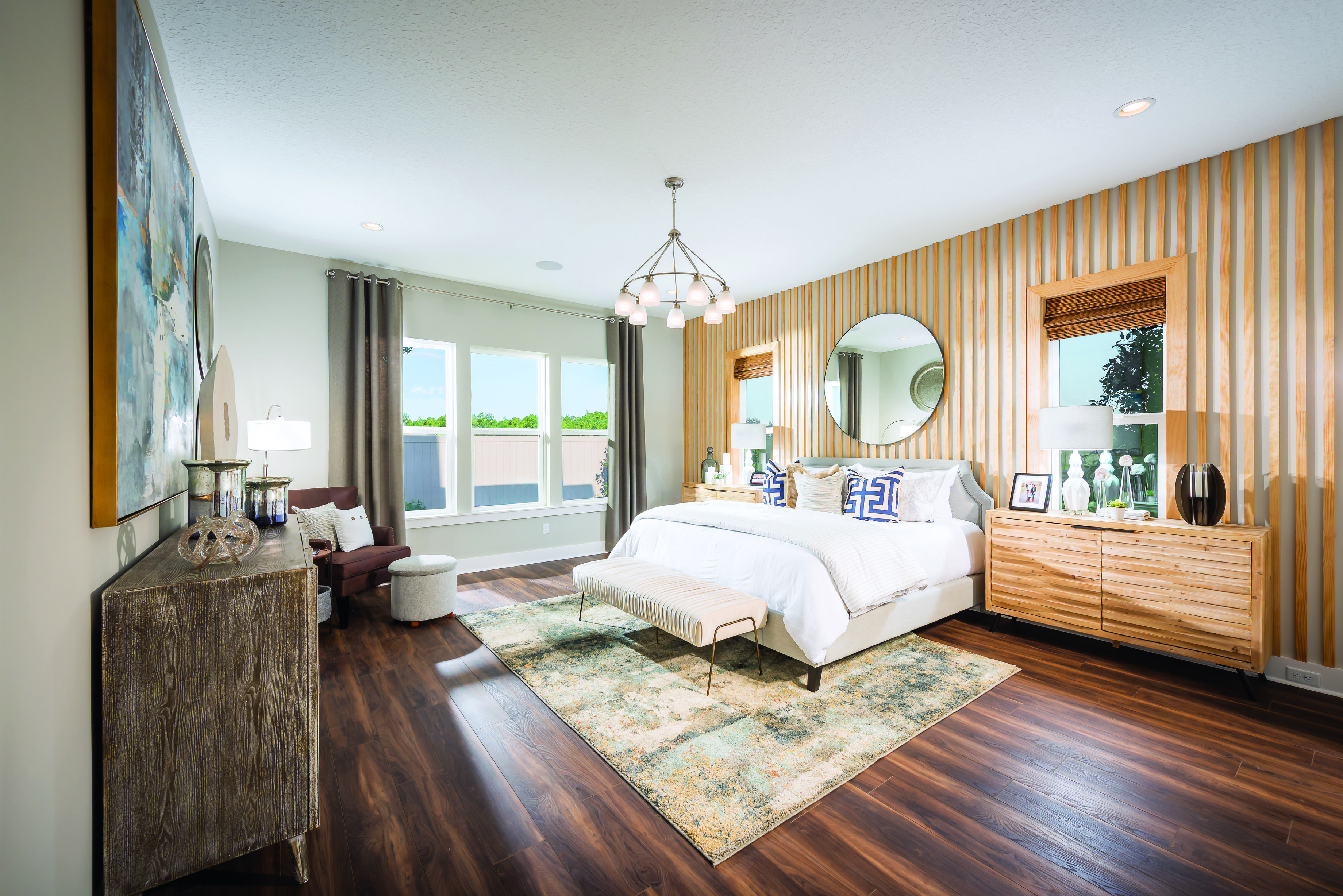 Intricate Wood Wall Accents Steal The Show In This Luxurious Master Bedroom From Toll Brothers At Shearwater Am Luxury Bedroom Master Luxurious Bedrooms Home
