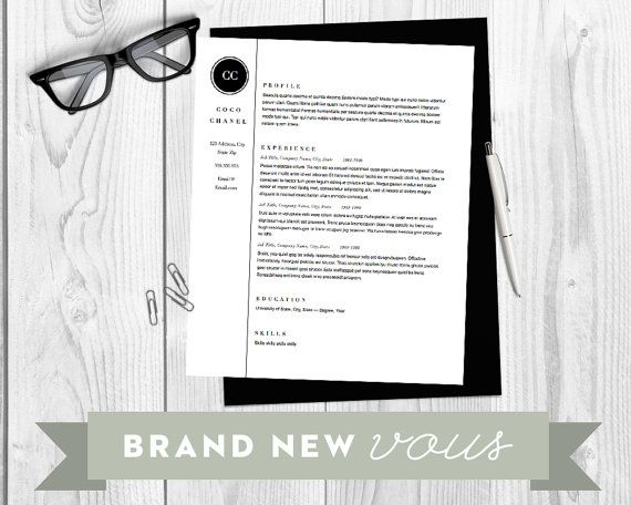 resume template - gabrielle chanel - instant download