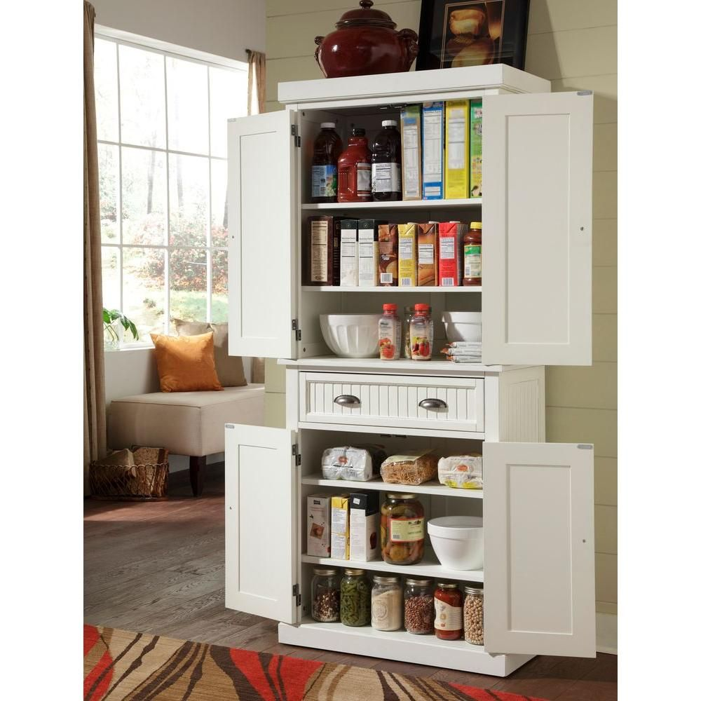 Home Styles Nantucket Pantry In Distressed White 5022 69 The Depot