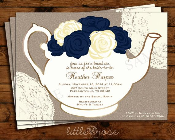 Tea Party Invitation Fl Teapot