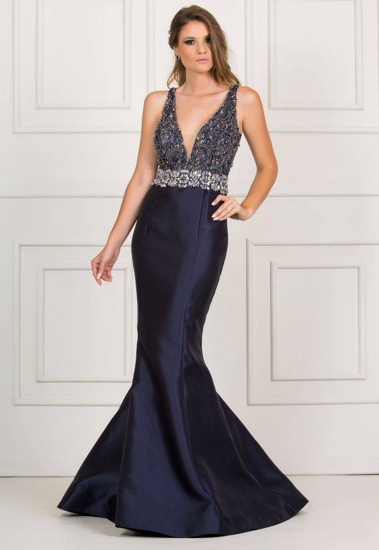 Vestido azul marinho sereia