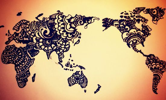 Wow ive seen this done many times but never like this world map tattoo henna style gumiabroncs Images