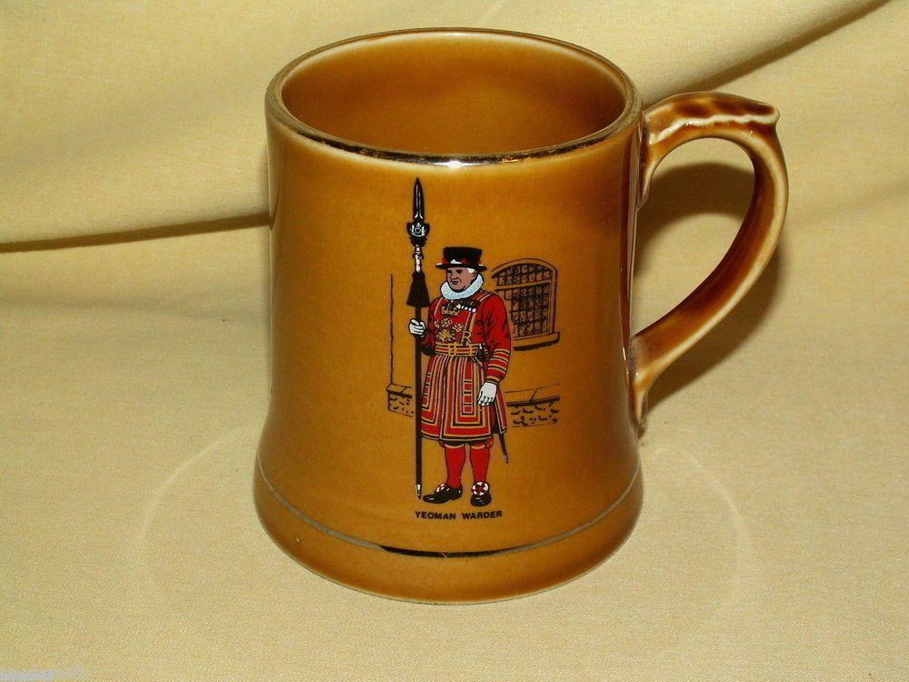 WADE IRELAND IRISH BROWN AMBER MUG CUP STEIN TANKARD YEOMAN WARDER GUARD SOLDIER