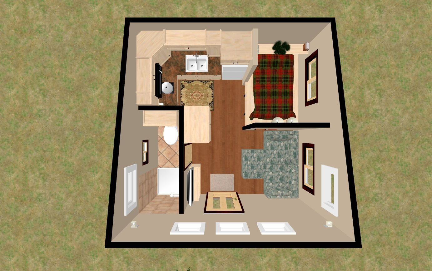 3d Top View Of The 196 Sq Ft 3 Bed Chatterbox Micro