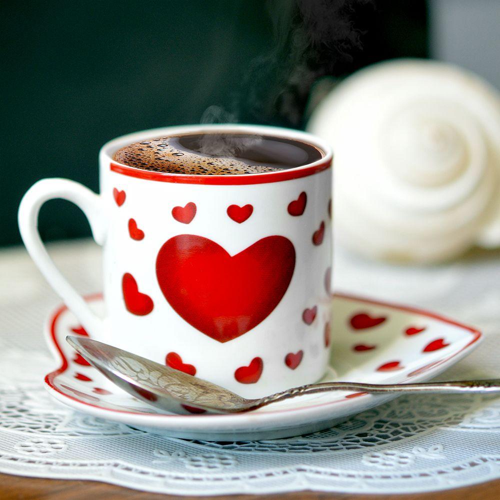 Открытки кофе с сердечками