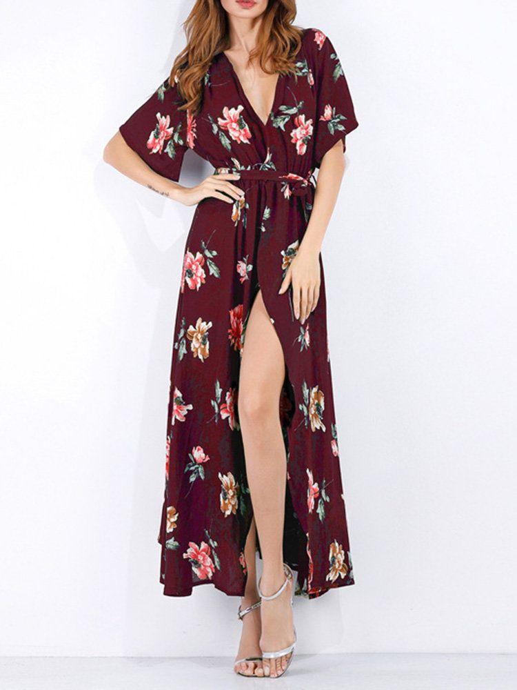 c12c347303 Bohemian Half Sleeve Side Split V-neck Maxi Dresses