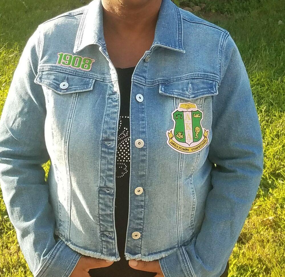 Aka Denim Jacket Medium Inc Alpha Kappa Alpha Medium Motorcyclejacket Akajacket Denim Jacket Alpha Kappa Alpha Jackets For Women [ 971 x 1000 Pixel ]