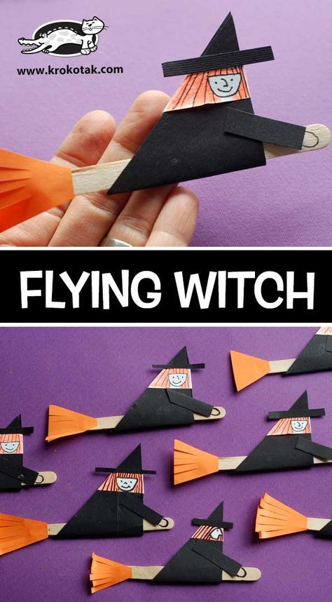 Flying Witch Halloween Pinterest Brujo Brujas Y La Nina - Cosas-para-halloween-manuales