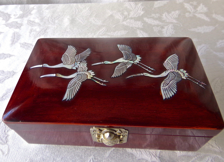 Vintage Eclectic Four Piece Vanity Trinket Box Music Box Jewelry Box