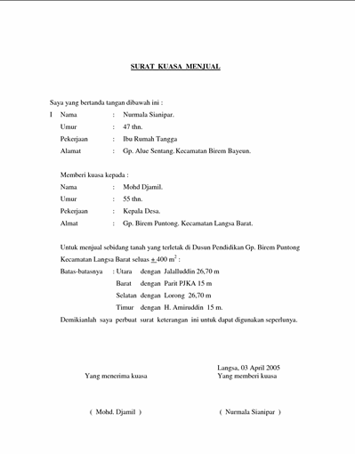 Contoh Format Surat Kuasa Penjualan Tanah Education