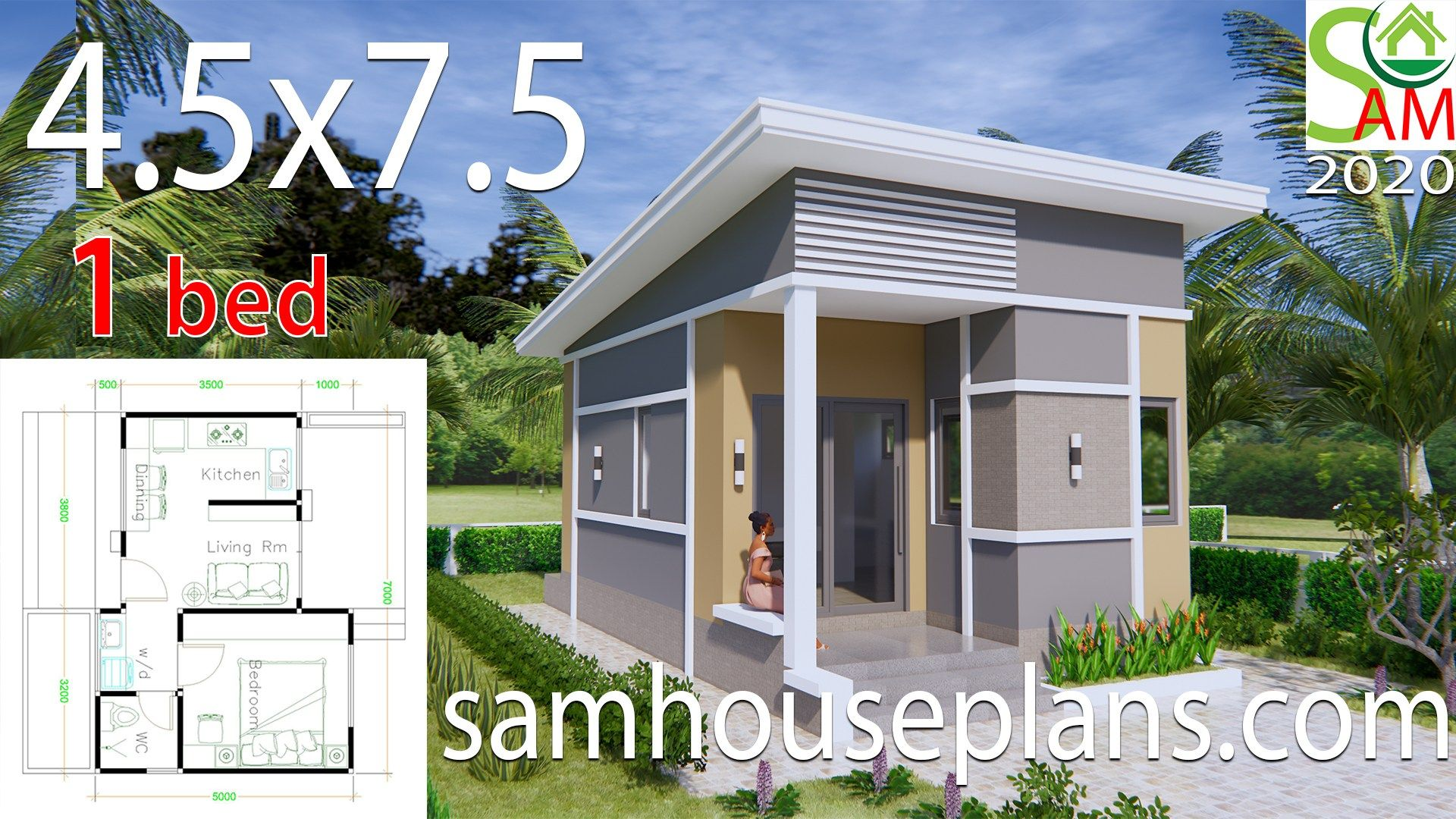 Small House Plans 4 5x7 5 With One Bedroom Shed Roof Sam House Plans Small House Design Small House Design Plans Small House Plans