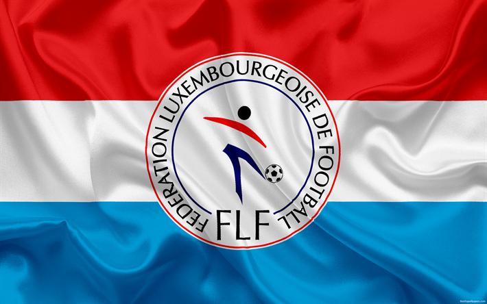 Lataa kuva Luxemburgin jalkapallomaajoukkue, tunnus, logo, jalkapalloliitto, lippu, Euroopassa, Luxemburgin lipun alla, jalkapallo, World Cup
