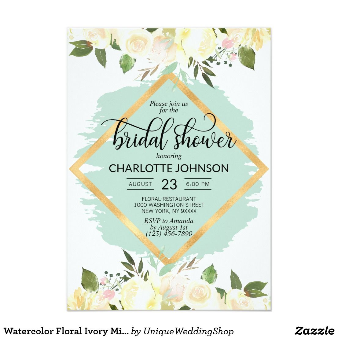 Watercolor Floral Ivory Mint Gold Bridal Shower Invitation