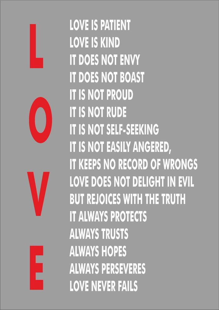 1 Corinthians 13 Wedding Reading.Details About Love Is Patient Love Is Kind 1 Corinthians 13 4 Print