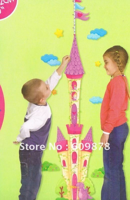 Removable Princess Castle Girl room Height Tower Growth Chart Wall ...