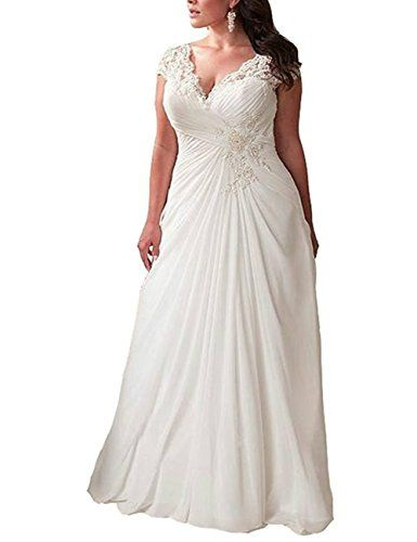 Monalia Womens Applique Lace Wedding Dress V Neck Plus Size Beach ...
