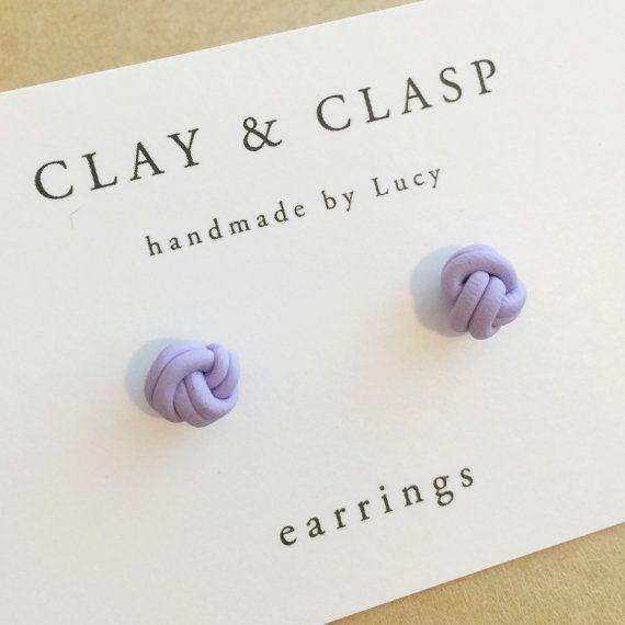 Aretes nudo del amor – joyas de arcilla de polímero hecho a mano hermoso de arcilla y cierre