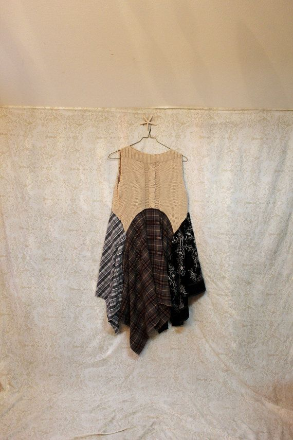 REVIVAL Women's Upcycled Boho Shirt, Junk Gypsy Style Shabby Chic Romantic Bohemian, Size Medium to Large Plus 1X, Recycled, Repurposed