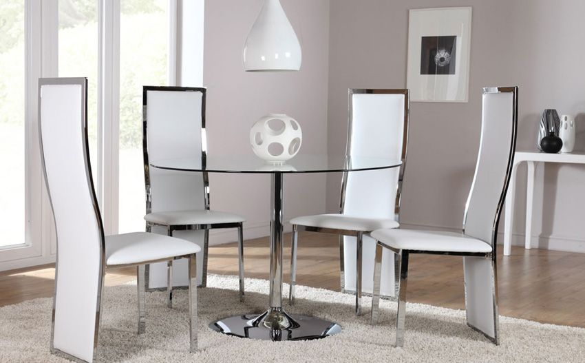Orbit Gl And Chrome Round Dining Table With 4 Perth White Chairs