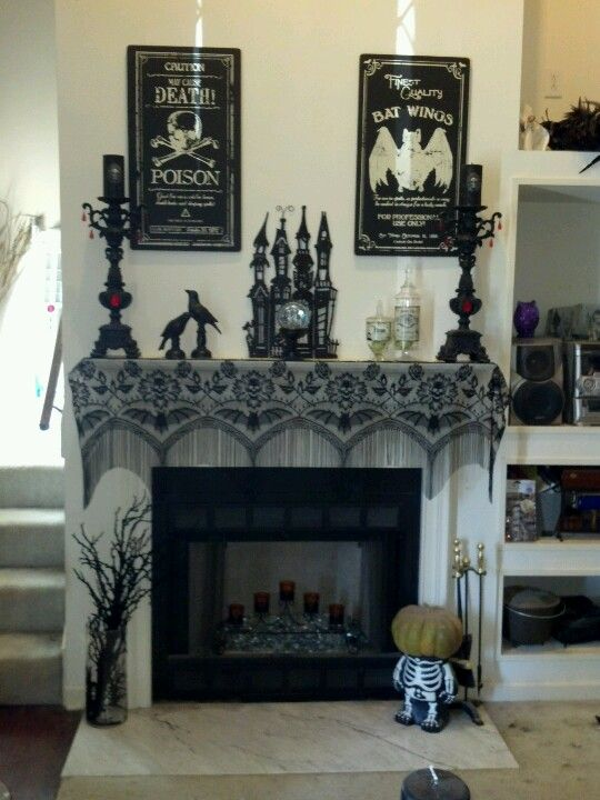 Halloween mantle love the mini pumpking-skeleton Halloween