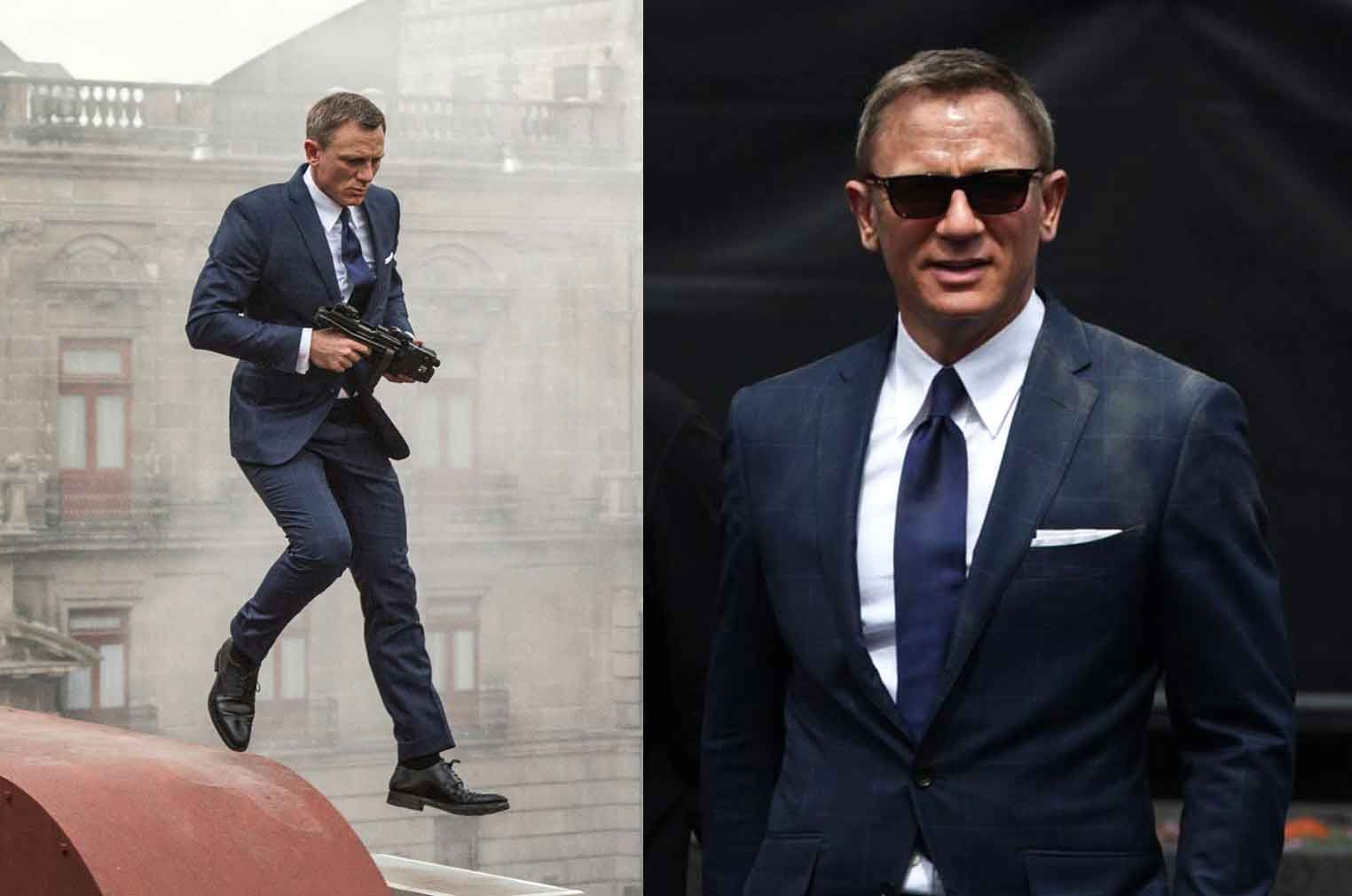f6cbfe8954b3 Bond changed his bone daddy costumes to Tom Ford windowpane suit instantly  to capture the elegance and get his timeless style after reaching to the  hotel ...