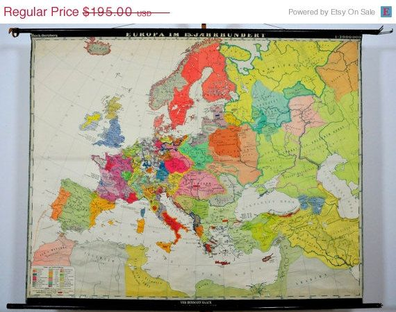 SALE Vintage Europe Map Europe in the 15th Century Large