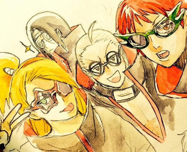 Deidara, Hidan, Sasori, and Itachi wearing fabulous glasses