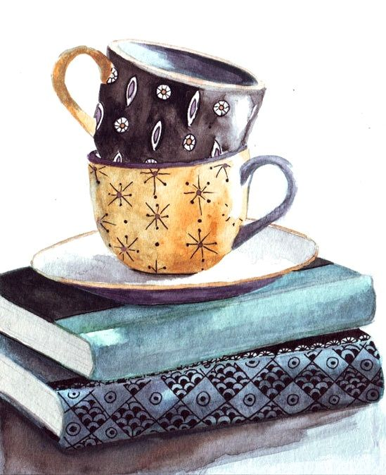 Desenharts By Helgamcl Tea Art Coffee Art Original Watercolor