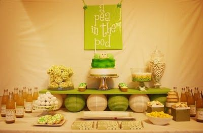 """Pea in the Pod"" dessert table. I love the paper lanterns underneath the green shelf!"