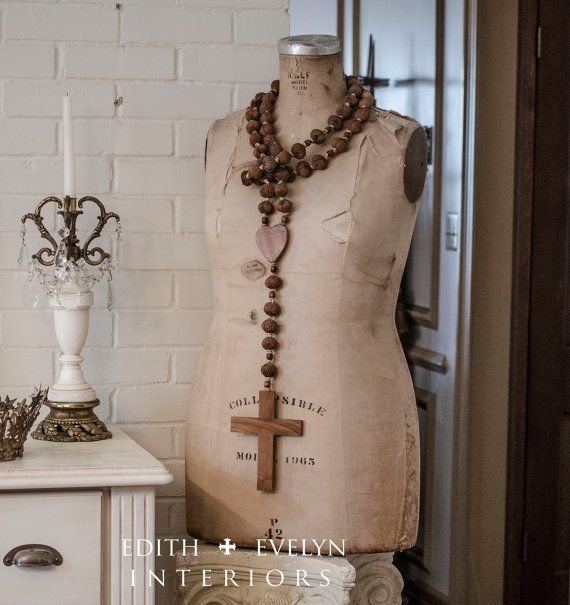Antique French Wall Rosary Large Wood From by ...