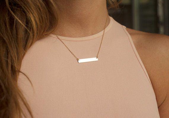 Custom Name Bar Necklace, Gold Nameplate Necklace, Silver Nameplate Necklace, Personalized Bar Necklace